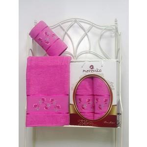 Набор из 2 полотенец Merzuka Prestij махра (50х90/70х140) (8981 тёмно-розовый)