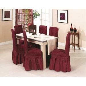 Набор чехлов для стульев 6 предметов Juanna (8029 бордовый)