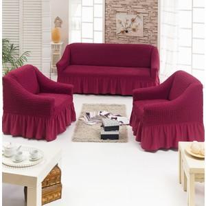 Набор чехлов для мягкой мебели 3 предмета Juanna (7565 бордовый)