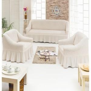 Набор чехлов для мягкой мебели 3 предмета Juanna (7565 кремовый) набор чехлов для мягкой мебели 3 предмета bulsan 1717 char011