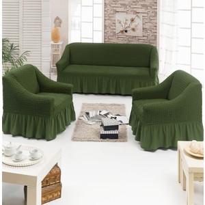 Набор чехлов для мягкой мебели 3 предмета Juanna (7565 оливковый)