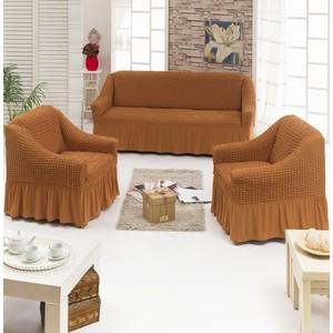 Набор чехлов для мягкой мебели 3 предмета Juanna (7565 рыже-коричневый)
