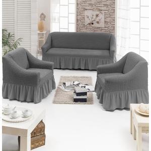 Набор чехлов для мягкой мебели 3 предмета Juanna (7565 серый)