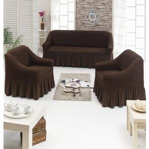 Набор чехлов для мягкой мебели 3 предмета Juanna (7565 шоколадный)