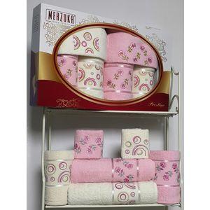 Набор из 6 полотенец Merzuka Prestij махра (30х50-2/50х90-2/70х140-2) (8428 розовый)