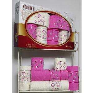 Набор из 6 полотенец Merzuka Prestij махра (30х50-2/50х90-2/70х140-2) (8428 светло-розовый)
