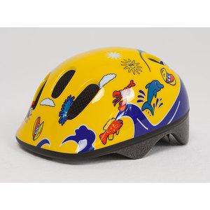 Шлем защитный Moove&Fun BELLELLI желто-синий с дельфинами размер: М, 80029-M