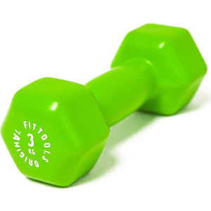 Гантель Original FitTools в виниловой оболочке 3 кг (Цвет - зеленый) FT-VWB-3