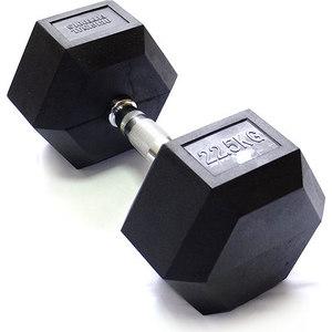 Гантель Original Fit.Tools гексагональная обрезиненная, хромированная ручка, 22,5 кг FT-HEX-22,5 гиря original fit tools 24 кг обрезиненная ft k24 b синяя
