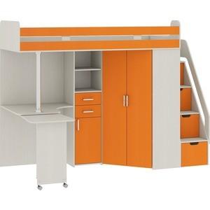 Кровать Атлант Карамель 77-03 сосна карелия/оранжевый
