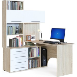 Купить со скидкой Компьютерный стол СОКОЛ КСТ-14Л дуб сонома/белый