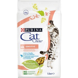 Сухой корм CAT CHOW Adult Sensitive rich in Poultry and Salmon с домашней птицей и лососем для кошек с чувствительным пищеварением 1,5кг (12123733) фото