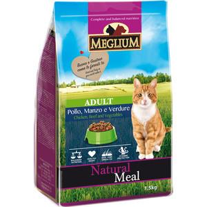 Сухой корм MEGLIUM Natural Meal Cat Adult Chicken, Beef & Vegetables с курицей, говядиной и овощами для взрослых кошек 1,5кг (MGS0101) фото