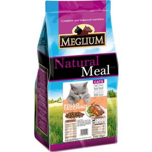 Сухой корм MEGLIUM Natural Meal Cat Adult Chicken & Turkey с курицей и индейкой для взрослых кошек 3кг (MGS0303)