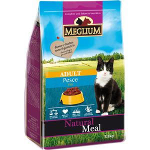 Сухой корм MEGLIUM Natural Meal Cat Adult Fish с рыбой для взрослых кошек 1,5кг (MGS0201)