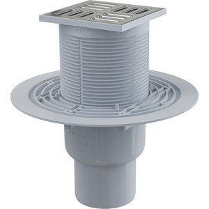 Душевой трап AlcaPlast 105х105/50/75 подводка прямая, нержавеющая сталь, гидрозатвор мокрый (APV2311)