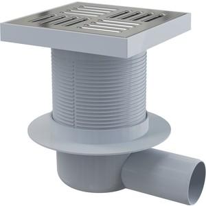 Душевой трап AlcaPlast 150х150/50 подводка боковая, нержавеющая сталь, гидрозатвор мокрый (APV5411) душевой трап alpen dn5o 95 нержавеющая сталь dn50 95xn