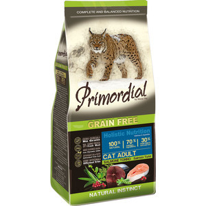 Сухой корм Primordial Grain Free Holistic Cat Adult with Salmon & Tuna беззерновой с лососем и тунцом для кошек 2кг (MGSP1202)