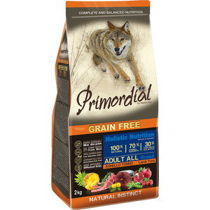 Сухой корм Primordial Grain Free Holistic Dog Adult All Breed with Lamb & Tuna беззерновой с ягненком и тунцом для собак всех пород 2кг (MSP5302)