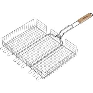 Решетка для гриля Grinda barbecue 424732 , объемная, нержавеющая сталь, 340х260мм решетка для гриля grinda 424710 объемная 300х400мм
