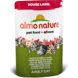Паучи Almo Nature Rouge Label Adult Cat with Tuna Fillet and Seaweed с тунцом и морскими водорослями для кошек 55г (5832) паучи almo nature classic in jelly adult cat with tuna and sole fish с тунцом и камбалой в желе для кошек 70г 1117