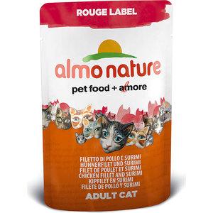 Паучи Almo Nature Rouge Label Adult Cat with Chicken Fillet and Surimi с куриным филе и сурими для кошек 55г (5831)