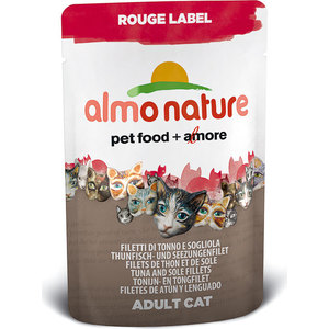 Паучи Almo Nature Rouge Label Adult Cat with Tuna and Sole Fillets с тунцом и камбалой для кошек 55г (4404/3340/5834) паучи almo nature classic in jelly adult cat with tuna and sole fish с тунцом и камбалой в желе для кошек 70г 1117