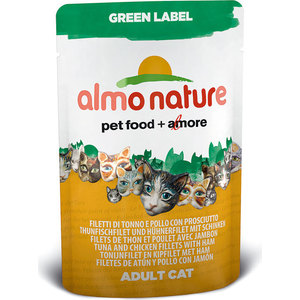Паучи Almo Nature Green Label Adult Cat with Tuna, Chicken Fillets and Ham с тунцом, куриным филе и ветчиной для кошек 55г (5825) паучи almo nature classic in jelly adult cat with tuna and sole fish с тунцом и камбалой в желе для кошек 70г 1117