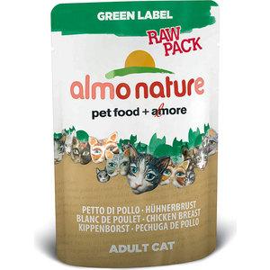 Паучи Almo Nature Green Label Raw Pack Adult Cat with Chicken Breast с куриной грудкой для кошек 55г (5821) консервы almo nature alternative для кошек с куриной грудкой 55 г