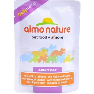Паучи Almo Nature Daily Menu Adult Cat with Chicken and Salmon с курицей и лососем для кошек 70г (1957) almo nature almo nature daily menu adult cat veal