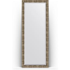 Зеркало напольное с фацетом Evoform Exclusive Floor 78x198 см, в багетной раме - серебряный бамбук 73 мм (BY 6107) бра corinto 6107