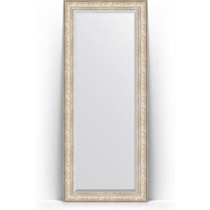 Зеркало напольное с фацетом Evoform Exclusive Floor 85x205 см, в багетной раме - виньетка серебро 109 мм (BY 6136) зеркало с фацетом в багетной раме поворотное evoform exclusive 80x170 см виньетка серебро 109 мм by 3608