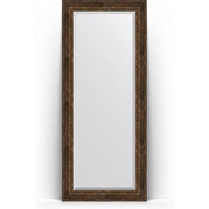 Зеркало напольное с фацетом Evoform Exclusive Floor 87x207 см, в багетной раме - состаренное дерево орнаментом 120 мм (BY 6140)
