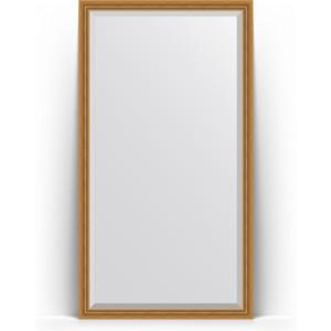 Зеркало напольное с фацетом Evoform Exclusive Floor 108x198 см, в багетной раме - состаренное золото плетением 70 мм (BY 6141)