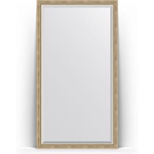 Зеркало напольное с фацетом Evoform Exclusive Floor 108x198 см, в багетной раме - состаренное серебро с плетением 70 мм (BY 6142) зеркало evoform exclusive 133х53 состаренное серебро с плетением