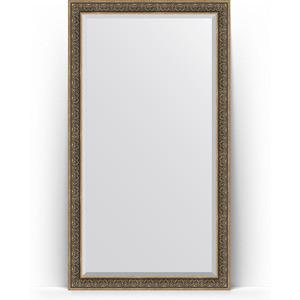 Зеркало напольное с фацетом Evoform Exclusive Floor 114x204 см, в багетной раме - вензель серебряный 101 мм (BY 6172) зеркало в багетной раме evoform definite 73x73 см вензель серебряный 101 мм by 3160