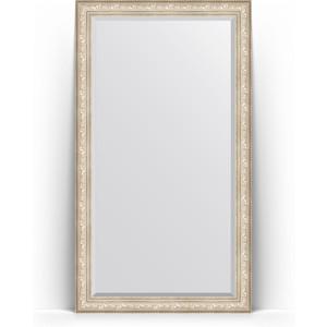 Зеркало напольное с фацетом Evoform Exclusive Floor 115x205 см, в багетной раме - виньетка серебро 109 мм (BY 6176) зеркало напольное с фацетом evoform exclusive floor 85x205 см в багетной раме виньетка состаренная бронза 109 мм by 6137