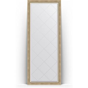 Зеркало напольное с гравировкой Evoform Exclusive-G Floor 78x198 см, в багетной раме - состаренное серебро с плетением 70 мм (BY 6302) зеркало evoform exclusive g 128х73 состаренное серебро с плетением