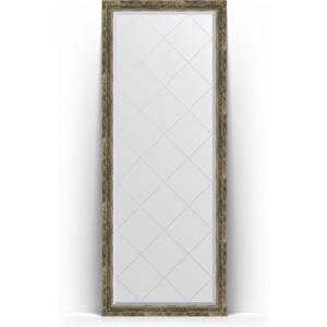 Зеркало напольное с гравировкой Evoform Exclusive-G Floor 78x198 см, в багетной раме - старое дерево плетением 70 мм (BY 6305)
