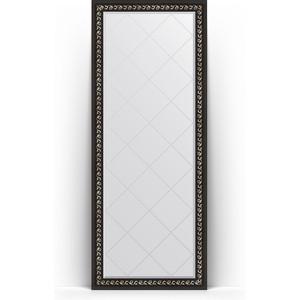 Зеркало напольное с гравировкой Evoform Exclusive-G Floor 80x199 см, в багетной раме - черный ардеко 81 мм (BY 6308)