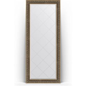 Зеркало напольное с гравировкой Evoform Exclusive-G Floor 84x204 см, в багетной раме - вензель серебряный 101 мм (BY 6332) фото