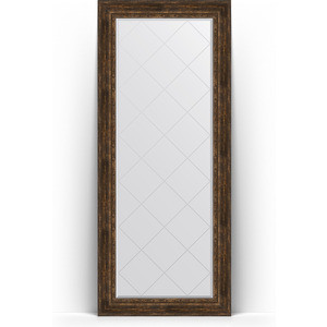 Зеркало напольное с гравировкой Evoform Exclusive-G Floor 87x207 см, в багетной раме - состаренное дерево с орнаментом 120 мм (BY 6340) цены