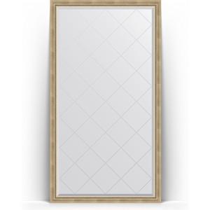 Зеркало напольное с гравировкой Evoform Exclusive-G Floor 108x198 см, в багетной раме - состаренное серебро плетением 70 мм (BY 6342)