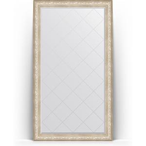 Зеркало напольное с гравировкой Evoform Exclusive-G Floor 115x205 см, в багетной раме - виньетка серебро 109 мм (BY 6376) зеркало evoform exclusive g floor 205х85 виньетка серебро