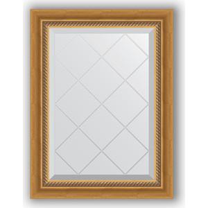 Зеркало с гравировкой поворотное Evoform Exclusive-G 53x71 см, в багетной раме - состаренное золото плетением 70 мм (BY 4002)