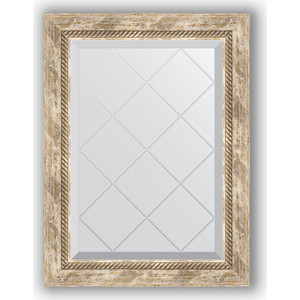 Зеркало с гравировкой поворотное Evoform Exclusive-G 53x71 см, в багетной раме - прованс плетением 70 мм (BY 4005)
