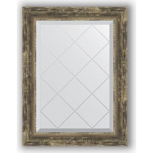 Зеркало с гравировкой поворотное Evoform Exclusive-G 53x71 см, в багетной раме - старое дерево плетением 70 мм (BY 4006)