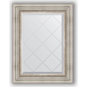 Зеркало с гравировкой поворотное Evoform Exclusive-G 56x74 см, в багетной раме - римское серебро 88 мм (BY 4018) зеркало evoform exclusive g 186х131 римское серебро
