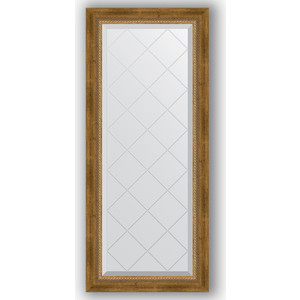 Зеркало с гравировкой поворотное Evoform Exclusive-G 53x123 см, в багетной раме - состаренная бронза плетением 70 мм (BY 4047)