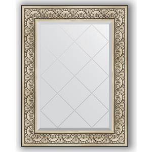 Зеркало с гравировкой поворотное Evoform Exclusive-G 70x92 см, в багетной раме - барокко серебро 106 мм (BY 4123)